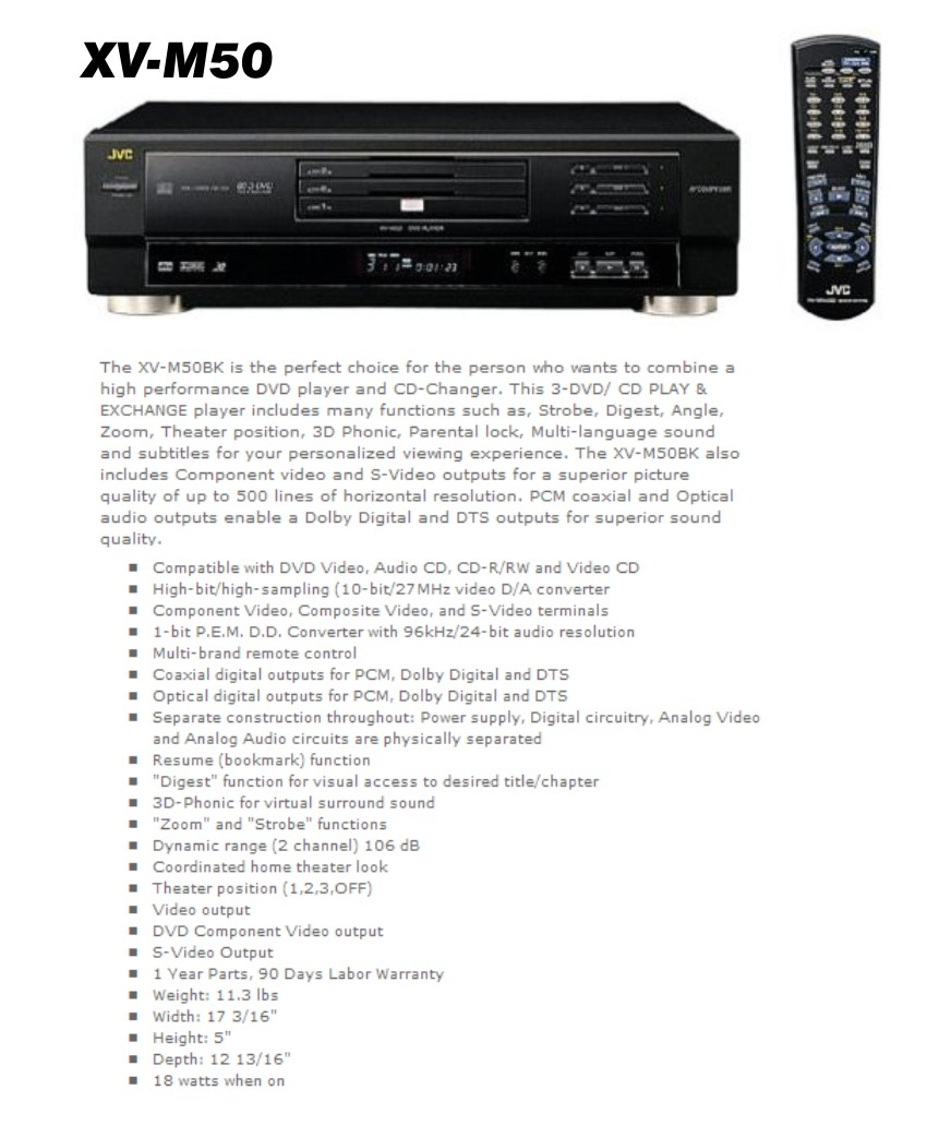Three disc DVD / CD R/RW changer — Coaxial and optical digital outputs —  Resume function and 3D Phonic — Multi-brand remote control — AV COMPU LINK